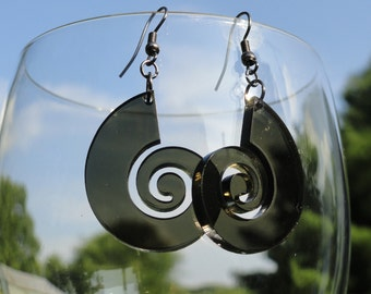 Thick Nautilus Acrylic Earrings