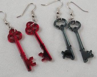Skeleton Key Acrylic Earrings