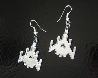 Galaga Ship Acrylic Earrings