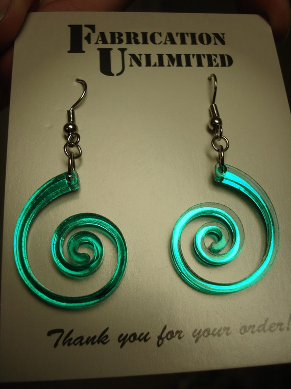 Thin Nautilus / Spiral Acrylic Earrings