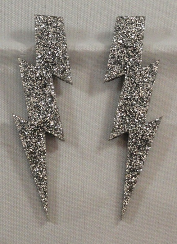"4"" Glam Style Large GLITTER or Pearl Lightning Bolt Earrings"