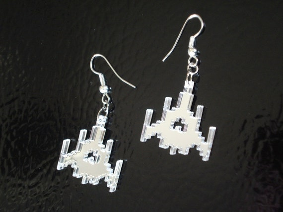 Galaga Ship Acrylic Earrings