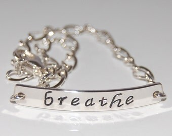 Sterling silver breathe bracelet, breathe bracelet, sterling silver message jewelry, friendship bracelet, coworker gift, meditation bracelet