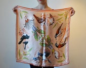 vintage birds of australia peach and orange scarf
