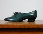 RESERVED ///  SALE vintage shoes / oxfords / forest green and black  (size 6)