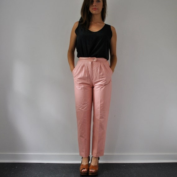 vintage pink leather high waist trouser pants (s)