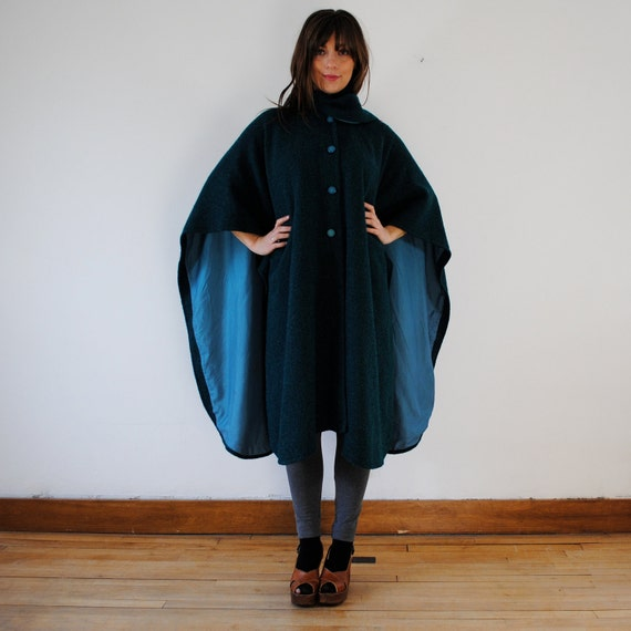 vintage cape / teal poncho jacket (one size)