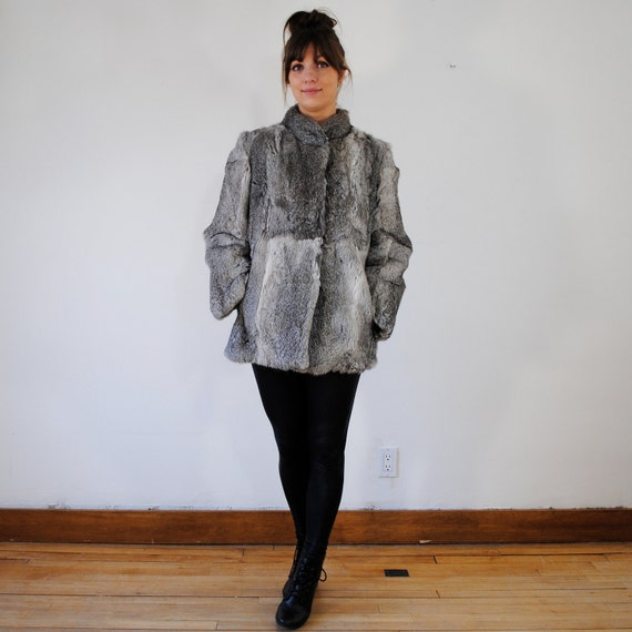 vintage fur coat / grey fur / cropped  (m)