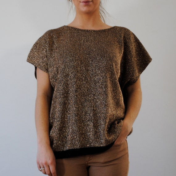 vintage sweater / gold sparkle (l-xl)