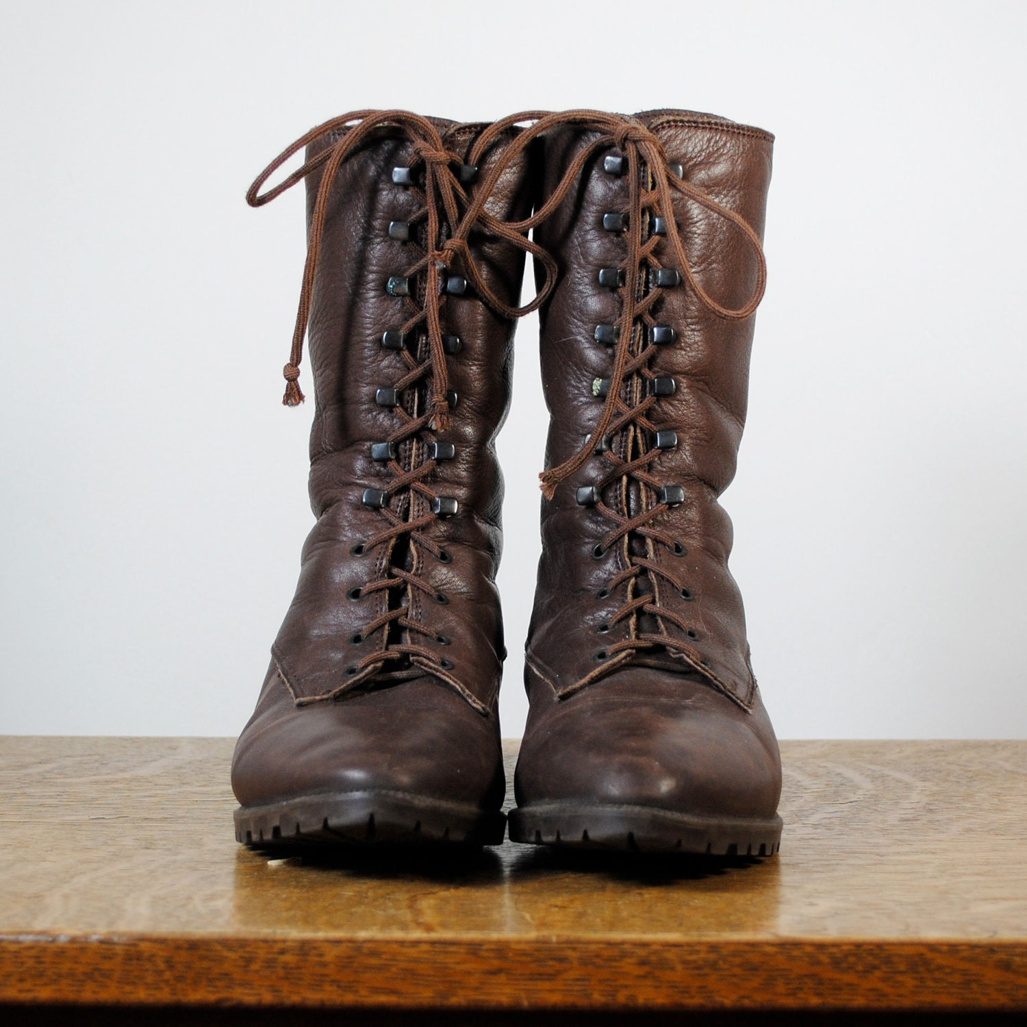 vintage boots brown leather lace up boots size 5