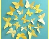 3D Wall Butterflies - 15 Vanilla, Mustard, Lemon, Gold Yellow Butterfly Silhouettes, Home Decor, Nursery