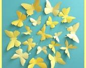 3D Wall Butterflies - 40 Vanilla, Mustard, Lemon, Gold Yellow Butterfly Silhouettes, Home Decor, Nursery