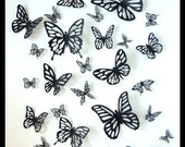 3D Wall Butterflies - 40 Black Different Butterfly for your Nursery, Home Decor