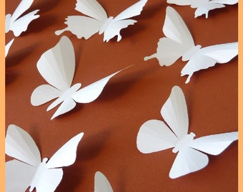 3D Wall Butterflies - 15 White Butterfly Silhouettes, Wedding, Nursery, Home Decor