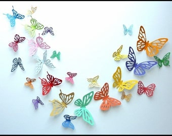 3D Wall Butterfly - 100 Colorful Butterflies for Nursery, Wedding, Home Decor
