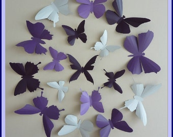 3D Wall Butterflies - 30  Lavender, Lilac Purple, Dark Plum,  White Butterfly Silhouettes, Nursery, Home Decor, Wedding Decor