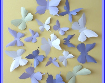 3D Wall Butterflies - 30 Lavender, Lilac Purple, Tea Green, Pink White,  Butterfly Silhouettes, Nursery, Home Decor, Wedding