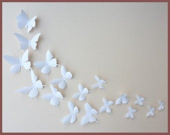 3D Wall Butterflies - 40 White Butterfly Silhouettes, Nursery, Home Decor, Wedding
