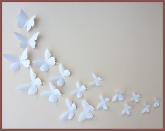 3D Wall Butterflies - 100 White Butterfly Silhouettes, Nursery, Home Decor, Wedding