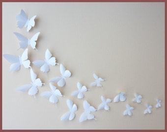 3D Wall Butterflies - 80 White Butterfly Silhouettes, Nursery, Home Decor, Wedding