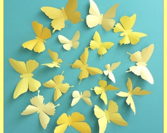 3D Wall Butterflies - 40 Vanilla, Mustard, Lemon, Gold Yellow Butterfly Silhouettes, Home Decor, Nursery
