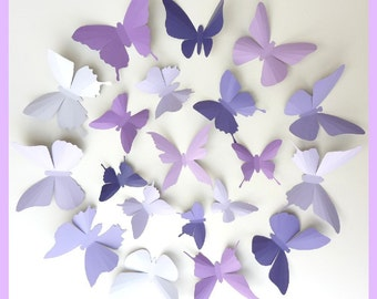 3D Wall Butterflies - 50 Lavender, Purple, Eggplant Butterfly Silhouettes, Nursery, Home Decor, Wedding