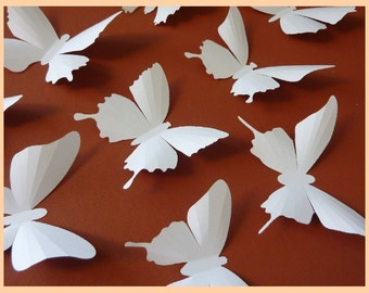3D Wall Butterflies - 15 White Butterfly Silhouettes, Nursery, Home Decor, Wedding