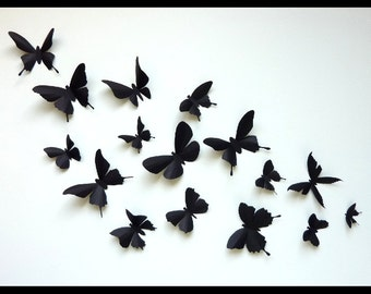 3D Wall Butterflies - 25 Assorted Black Butterfly Silhouettes, Nursery, Wedding, Home Decor