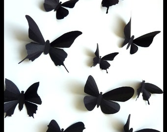 3D Wall Butterflies - 30 Assorted Black Butterfly Silhouettes, Nursery, Home Decor, Wedding