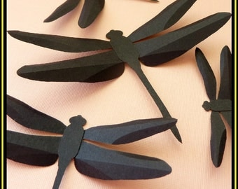 3D Wall Dragonfly - 20 Assorted Black Dragonflies Silhouettes