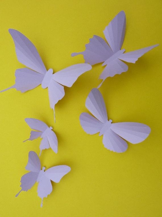 3D Wall Butterflies - 15 Orchid Light Purple Butterfly Silhouettes, Home Decor, Nursery