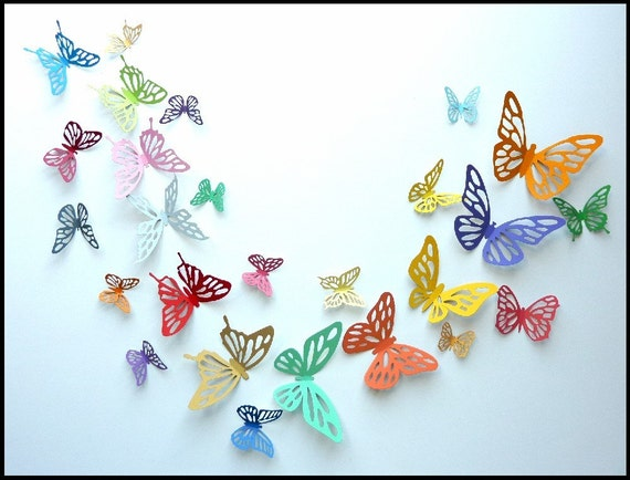Nursery Wall Decor Butterflies : Items similar to d wall butterfly colorful
