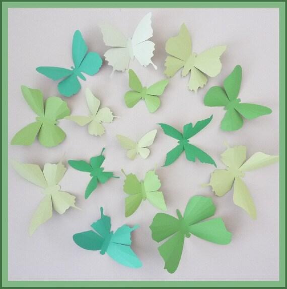 3D Wall Butterflies - 15 Green Tea, Clover Green, Honeydew Green Butterfly Silhouettes, Home Decor