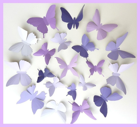 3D Wall Butterflies - 30 Lavender, Purple, Eggplant Butterfly Silhouettes, Nursery, Home Decor, Wedding