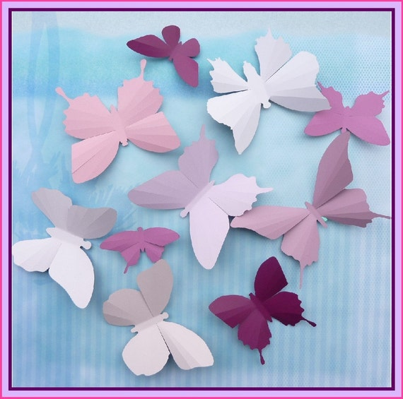 3D Wall Butterflies - 30 Light Pink to Burgundy Butterfly Silhouettes, Home Decor, Nursery