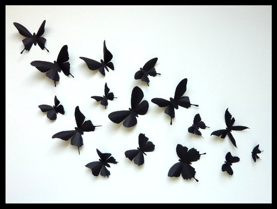 3D Wall Butterflies - 40 Assorted Black Butterfly Silhouettes, Nursery, Home Decor