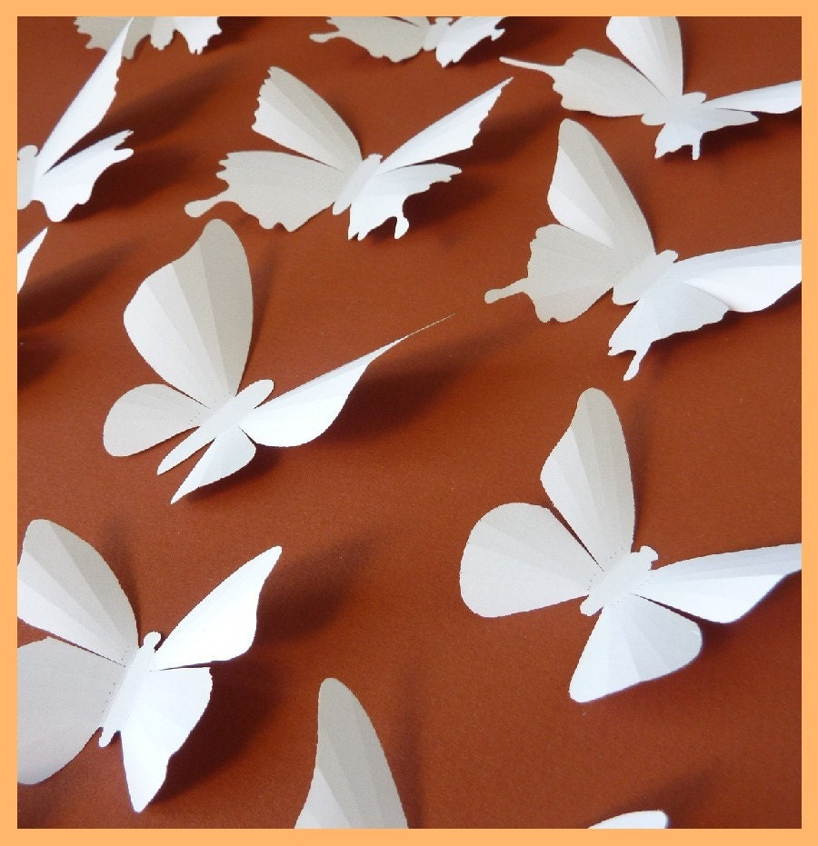 3d wall butterflies 15 white butterfly silhouettes wedding for 3d wall butterfly decoration