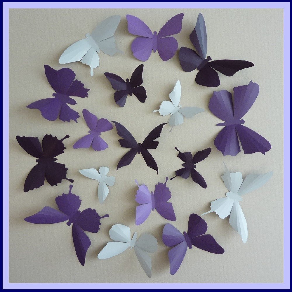3d Wall Butterflies 30 Lavender Lilac Purple Dark Plum