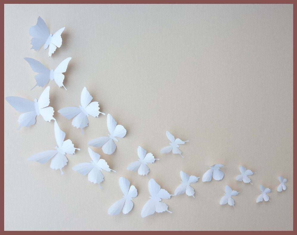 Butterfly wall decor 3d wall butterflies 100 white butterfly silhouettes by bugsloft amipublicfo Images