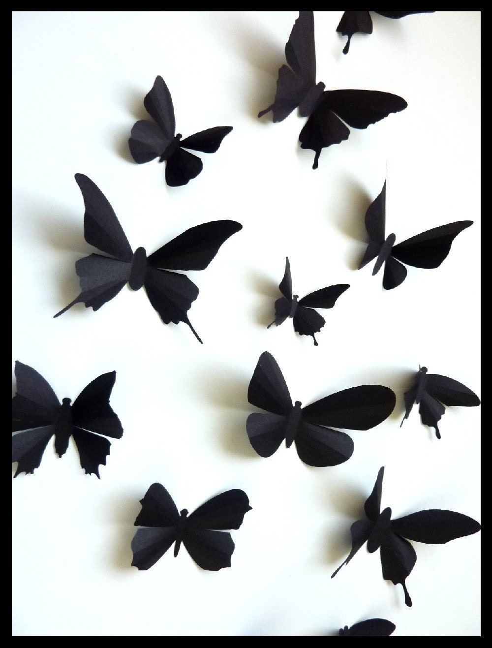 3D Wall Butterflies 30 Assorted Black Butterfly by BugsLoft