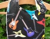 Baby bib, custom bib, baby boy bib, baby girl bib, cotton bib, music bib, guitar bib