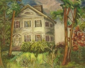 "Vintage oil painting on bord,unframed.Landscape ,house.Summer.50s Signed by artist Joan Oakley 20""x16"""