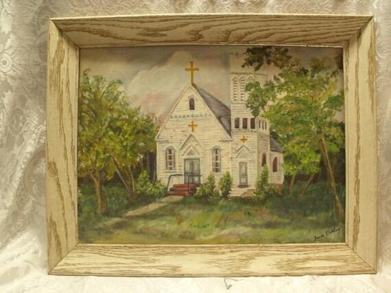"Vintage oil painting on bord,framed.Landscape ,church.Summer.Signed by artist Joan Oakley .Framed.21""x17"".Excellent condition."