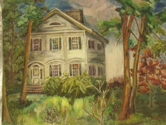 "Vintage oil painting on bord,unframed.Landscape ,house.Summer.50s Signed by artist Joan Oakley 20""x16"""