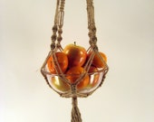 Macrame Plant Hanger, Large Size - Jute String with Dark Mahogany Colour Brown Wooden Beads, 44 inches, 112 cm's long