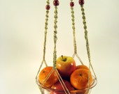 Macrame Plant Hanger, Large Size, Indoor & Outdoor, Poly Cord with a Double Set of Red Wooden Beads, 46 inches/117cm's long