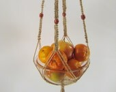 Macrame Plant Hanger, Large Size - Double Set of Wooden Beads, 100% Pure Polished Natural Hemp, 45 inches/114cm's long