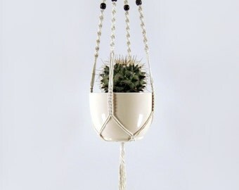 Macrame Plant Hanger, Medium Sized - Mahogany Colour Wooden OR Glass Turquoise Speckled Beads, Cotton Twine, 32 inches/81cm's long
