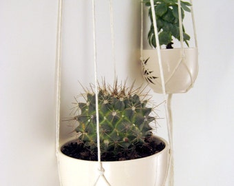 Minimalist Macrame Plant Hangers, No Beads, Set of 2 x Cotton Twine Hangers, 43 inches/109cm's long and 36 inches/91cm's