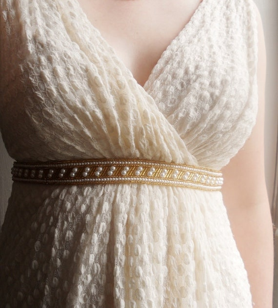 Items Similar To Gold Wedding Belt Grecian Gown Pearl